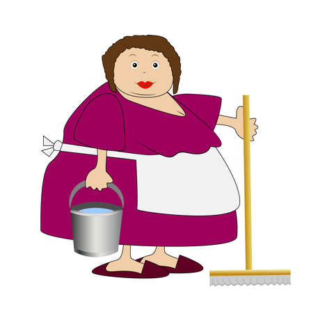 woman washing hair: complete woman with a bucket and mop in hands,vector illustration