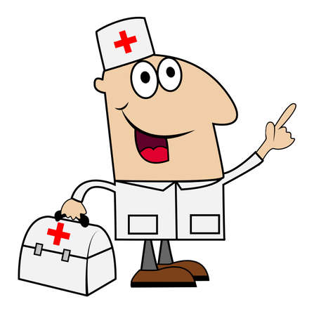 specialities: young doctor man on a white background, vector illustration Illustration