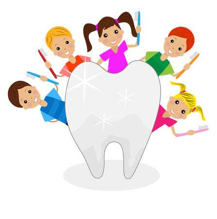 陽気な子供の手の中の歯のブラシと歯、ベクトル図を参照してください。