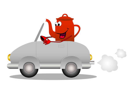 merry red tea-pot after the helm of car, vector illustration Vector