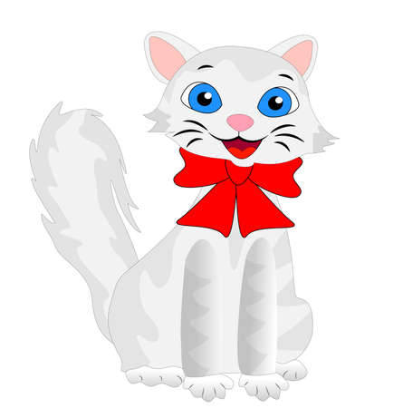 merry kitten with a fluffy tail, vector illustration Vector