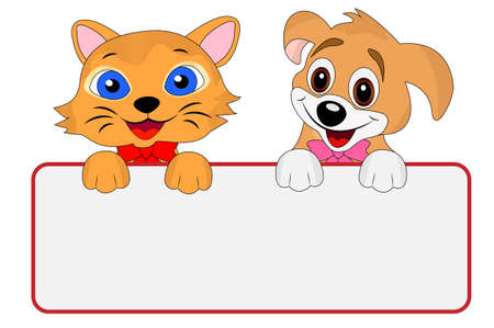 merry dog and cat hold a clean banner, vector illustration Vector