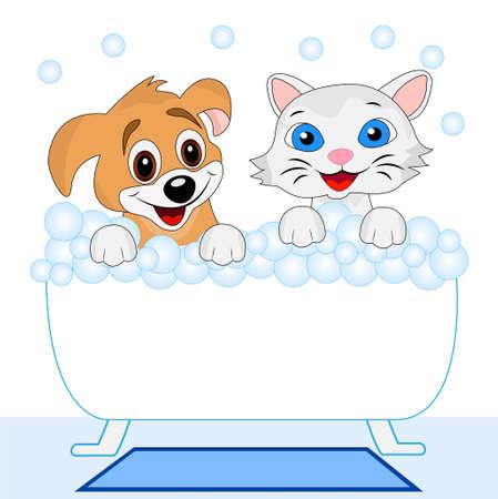 merry kitten and dog bath in bath, vector illustration Illustration
