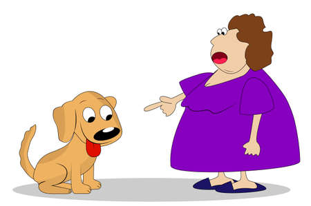 thick a woman breaks dog, vector illustration Vector
