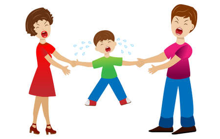 hysterics: parents divide a child by a white background,  vector  illustration