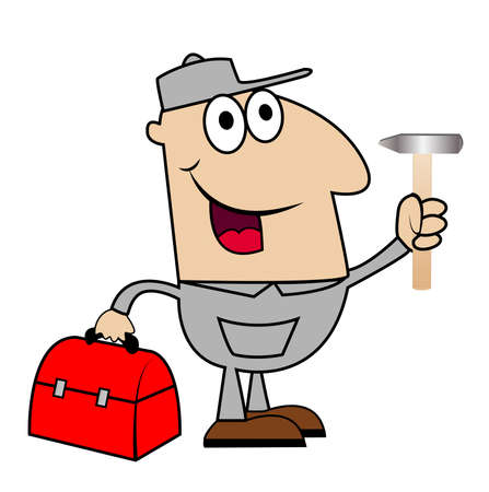 man locksmith with a hammer and gripsack in hands, vector illustration