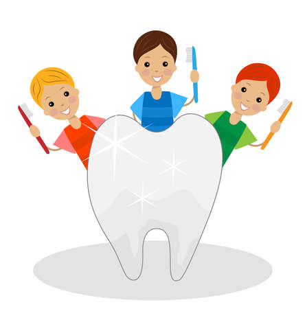 merry boys with tooth brushes in hands see to the teeth, vector illustration Illustration