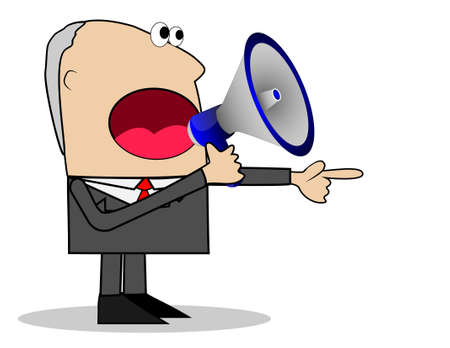 noise isolation: business man yells in a megaphone,vector illustration