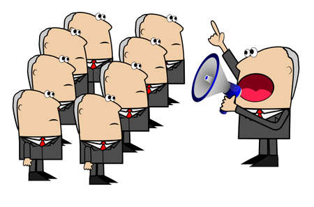 business man yells in a megaphone to the command of inferiors,vector illustration Vector