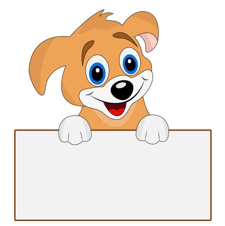 holds: merry dog holds a clean banner, vector illustration