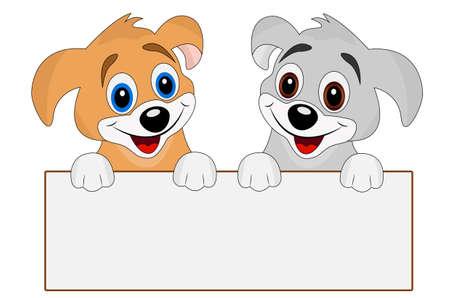 dos perros felices sostienen una bandera, ilustración vectorial limpio Ilustración de vector