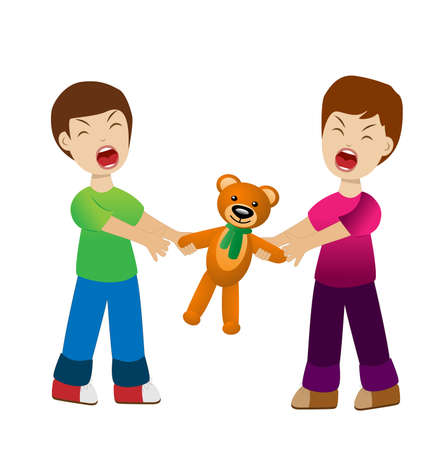 two boys divide a toy bear cry, vector illustration Vector