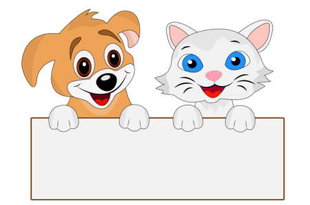 grey cat: merry dog and cat hold a clean banner, vector illustration