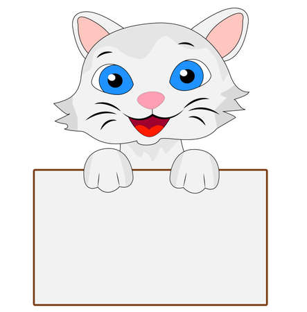 merry kitten holds a clean banner, vector illustration