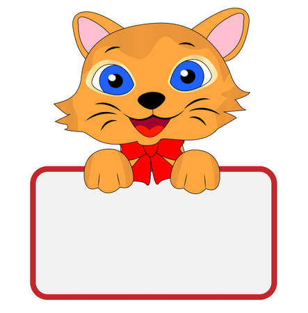 merry kitten holds a clean banner, vector illustration Vector