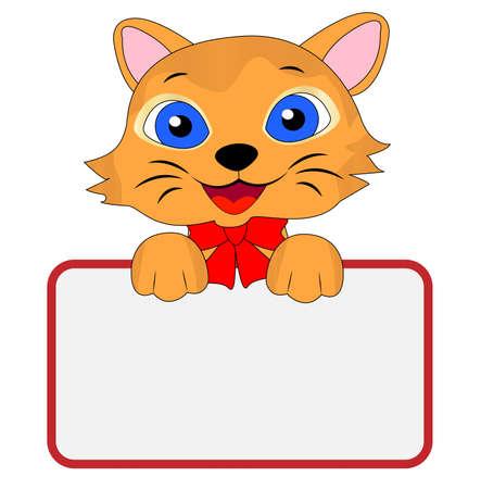 merry kitten holds a clean banner, vector illustration Vector