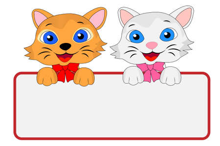 two merry kittens hold a clean banner, vector illustration Vector
