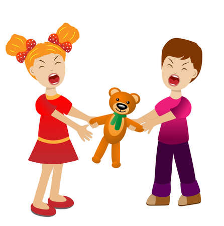 divide: girl and boy divide a toy bear cry, vector illustration