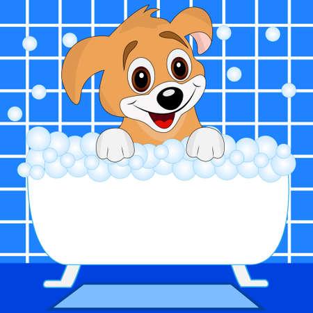 merry dog bathes in bath, vector illustration Vector