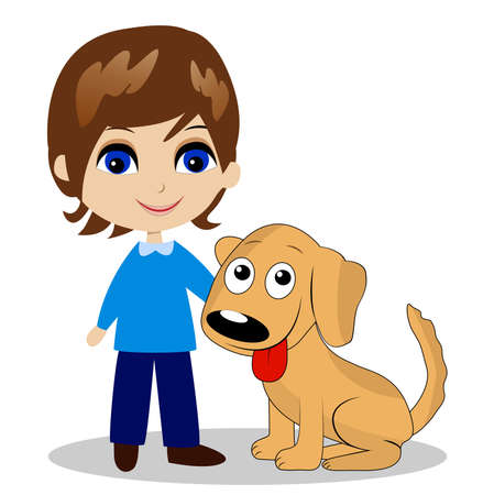 merry little boy with a dog,vector illustration