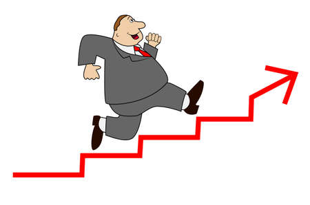 thick business man hurries upwards on a stair, vector illustration