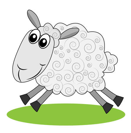 hoofs: merry  sheep hurries on a green lawn, vector illustration