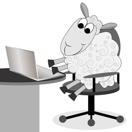 merry sheep works after a notebook,illustration Vector