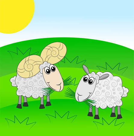 hoofs: merry ram and sheep on a green lawn,illustration