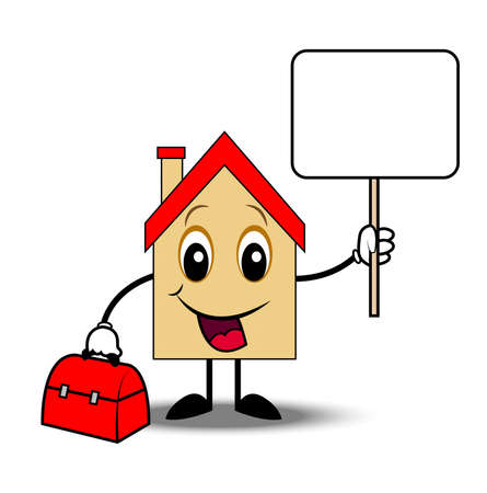 house with  a gripsack and clean banner in hands,  illustration Vector
