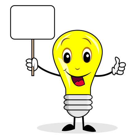 isolation: merry bulb holds a clean banner,illustration