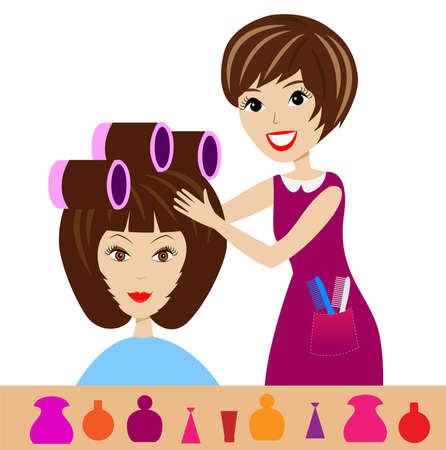 hair rollers: woman in a beauty salon does a hair-do,   illustration Illustration
