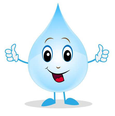 vrolijk een druppel water toont een teken perfect, illustratie