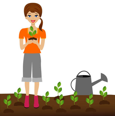 transplants: a young woman plants a nursery transplant in soil, illustration
