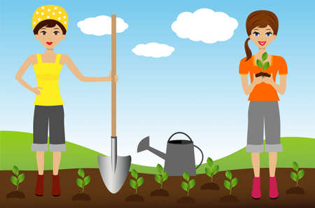 transplants: two young woman plant nursery transplant in soil, illustration