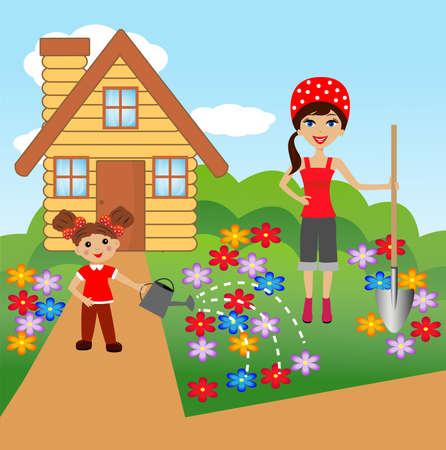 relaciones laborales: madre con hija plantar flores en el suelo, la ilustraci�n