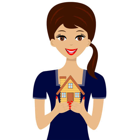 mansard: beautiful young woman gets on the hip the layout of house,illustration