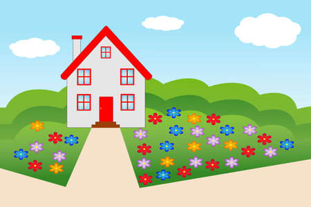 flue: beautiful house  with a flowering garden, illustration