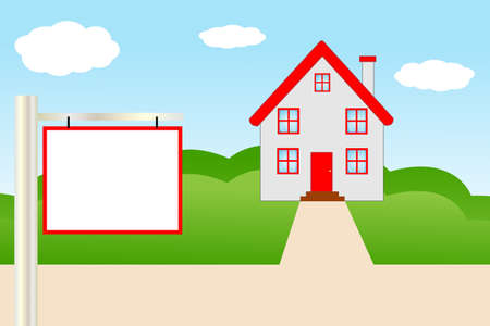 mansard: beautiful  house  with a red roof,  illustration Illustration
