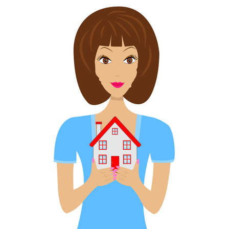 flue: beautiful young woman gets on the hip the layout of house,illustration