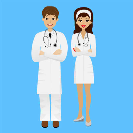 specialities: two young doctors man and woman on blue background,  illustration Illustration