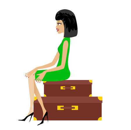 young woman sits on suitcases,   illustration Vector