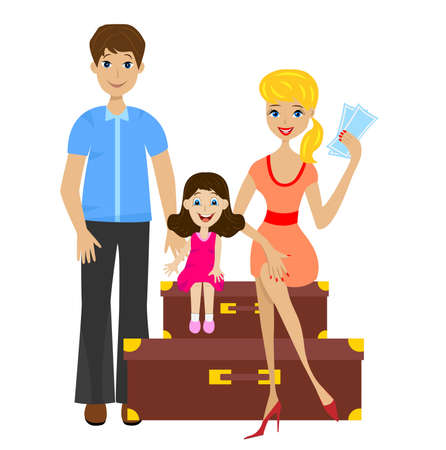 forth: family sets forth for vacation and sit on suitcases,  illustration