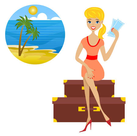 forth: woman sits on suitcases with tickets  in hands sets forth for vacation,  illustration