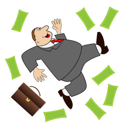 thick business man is glad to a powerful lot of money, illustration Vector