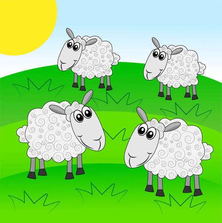 hoofs: merry  sheep graze on a green lawn,  illustration Illustration