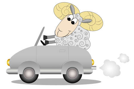 merry ram after the helm of car, illustration Vector