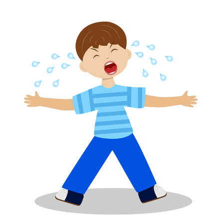 whining: whining boy on a white background,  illustration