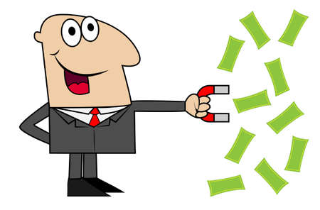 business man attracts to itself a magnet money,  illustration Ilustrace