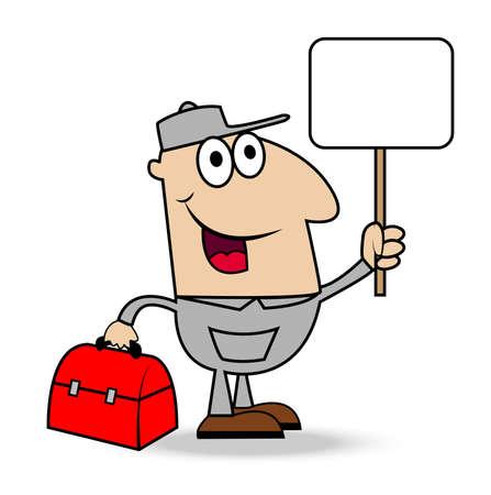 schlosser: Mann Schlosser mit einer gripsack und sauberer Fahne in der Hand, illustration Illustration