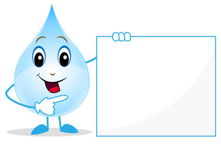 eye drops: merry a drop of water shows on a clean banner,  illustration